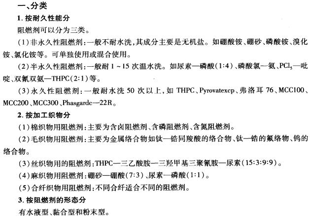 阻燃剂的分类和品种